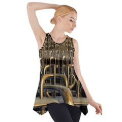 Fractal Image Of Copper Pipes Side Drop Tank Tunic