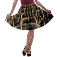 Fractal Image Of Copper Pipes A Line Skater Skirt