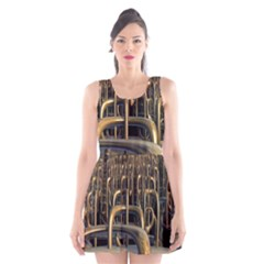 Fractal Image Of Copper Pipes Scoop Neck Skater Dress