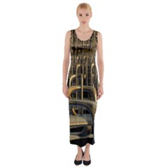 Fractal Image Of Copper Pipes Fitted Maxi Dress