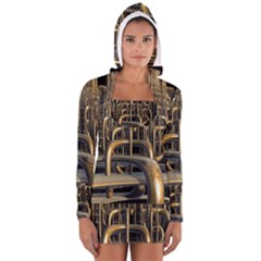 Fractal Image Of Copper Pipes Women s Long Sleeve Hooded T Shirt