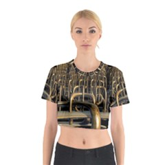 Fractal Image Of Copper Pipes Cotton Crop Top
