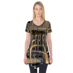 Fractal Image Of Copper Pipes Short Sleeve Tunic
