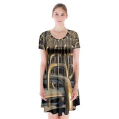 Fractal Image Of Copper Pipes Short Sleeve V-neck Flare Dress