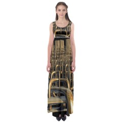 Fractal Image Of Copper Pipes Empire Waist Maxi Dress