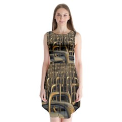 Fractal Image Of Copper Pipes Sleeveless Chiffon Dress