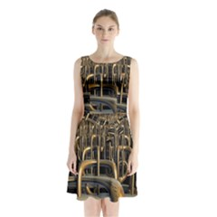 Fractal Image Of Copper Pipes Sleeveless Chiffon Waist Tie Dress