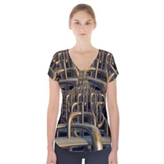 Fractal Image Of Copper Pipes Short Sleeve Front Detail Top