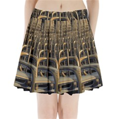 Fractal Image Of Copper Pipes Pleated Mini Skirt