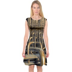 Fractal Image Of Copper Pipes Capsleeve Midi Dress