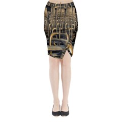 Fractal Image Of Copper Pipes Midi Wrap Pencil Skirt