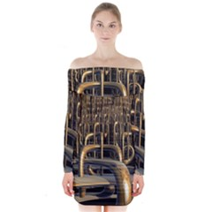 Fractal Image Of Copper Pipes Long Sleeve Off Shoulder Dress