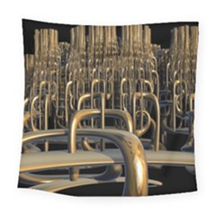 Fractal Image Of Copper Pipes Square Tapestry (large)