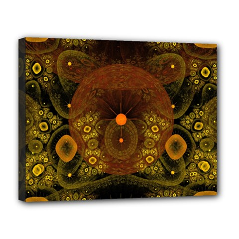 Fractal Yellow Design On Black Canvas 14  X 11