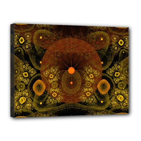 Fractal Yellow Design On Black Canvas 16  X 12