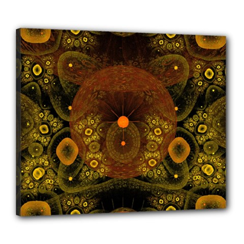Fractal Yellow Design On Black Canvas 24  X 20