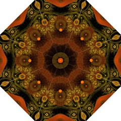 Fractal Yellow Design On Black Folding Umbrellas