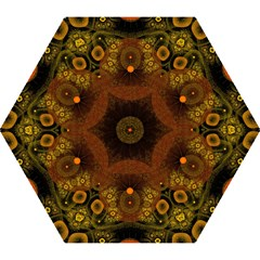 Fractal Yellow Design On Black Mini Folding Umbrellas