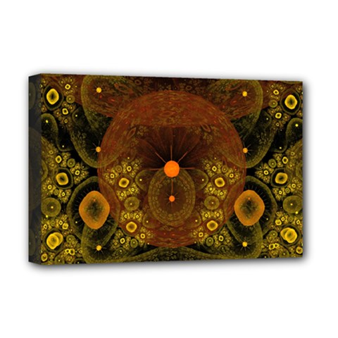Fractal Yellow Design On Black Deluxe Canvas 18  x 12