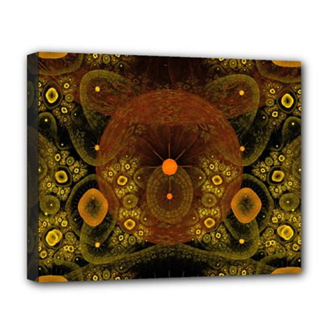 Fractal Yellow Design On Black Deluxe Canvas 20  x 16