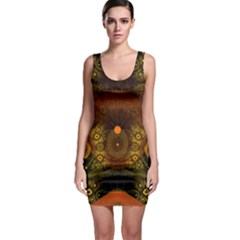Fractal Yellow Design On Black Sleeveless Bodycon Dress