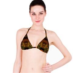 Fractal Yellow Design On Black Bikini Top
