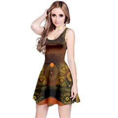 Fractal Yellow Design On Black Reversible Sleeveless Dress