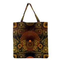 Fractal Yellow Design On Black Grocery Tote Bag