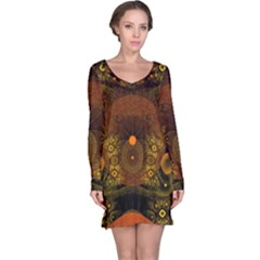 Fractal Yellow Design On Black Long Sleeve Nightdress