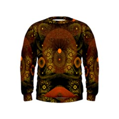 Fractal Yellow Design On Black Kids  Sweatshirt
