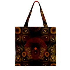 Fractal Yellow Design On Black Zipper Grocery Tote Bag