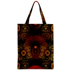 Fractal Yellow Design On Black Zipper Classic Tote Bag