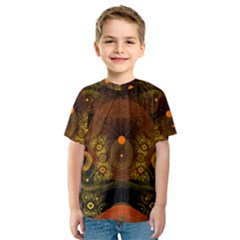Fractal Yellow Design On Black Kids  Sport Mesh Tee