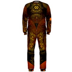 Fractal Yellow Design On Black Onepiece Jumpsuit (men)