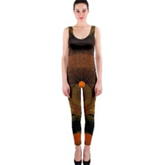 Fractal Yellow Design On Black Onepiece Catsuit