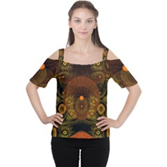 Fractal Yellow Design On Black Women s Cutout Shoulder Tee