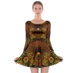 Fractal Yellow Design On Black Long Sleeve Skater Dress