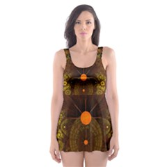 Fractal Yellow Design On Black Skater Dress Swimsuit