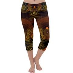 Fractal Yellow Design On Black Capri Yoga Leggings