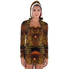 Fractal Yellow Design On Black Women s Long Sleeve Hooded T Shirt