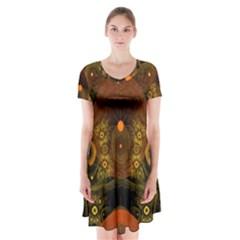 Fractal Yellow Design On Black Short Sleeve V Neck Flare Dress