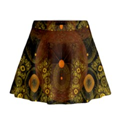 Fractal Yellow Design On Black Mini Flare Skirt