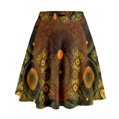 Fractal Yellow Design On Black High Waist Skirt