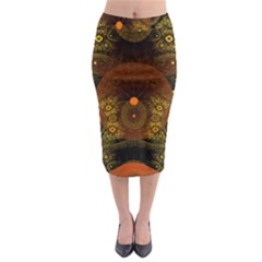 Fractal Yellow Design On Black Midi Pencil Skirt