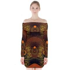 Fractal Yellow Design On Black Long Sleeve Off Shoulder Dress