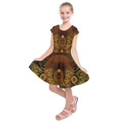 Fractal Yellow Design On Black Kids  Short Sleeve Dress