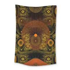 Fractal Yellow Design On Black Small Tapestry