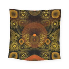 Fractal Yellow Design On Black Square Tapestry (small)
