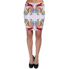 Fractal Kaleidoscope Of A Dragon Head Bodycon Skirt