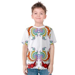 Fractal Kaleidoscope Of A Dragon Head Kids  Cotton Tee